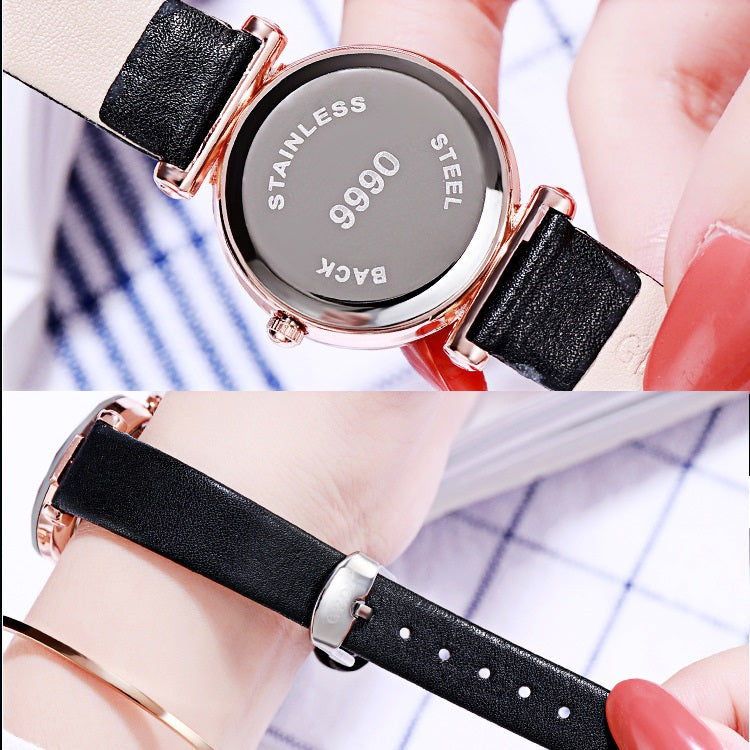 Gradient Dial Leather Strap Women's Watch