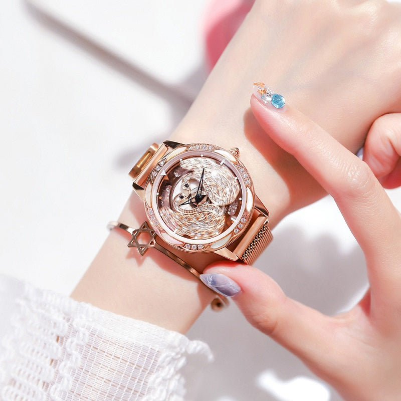 Rotatable Swan Pattern Dial Women's Watch