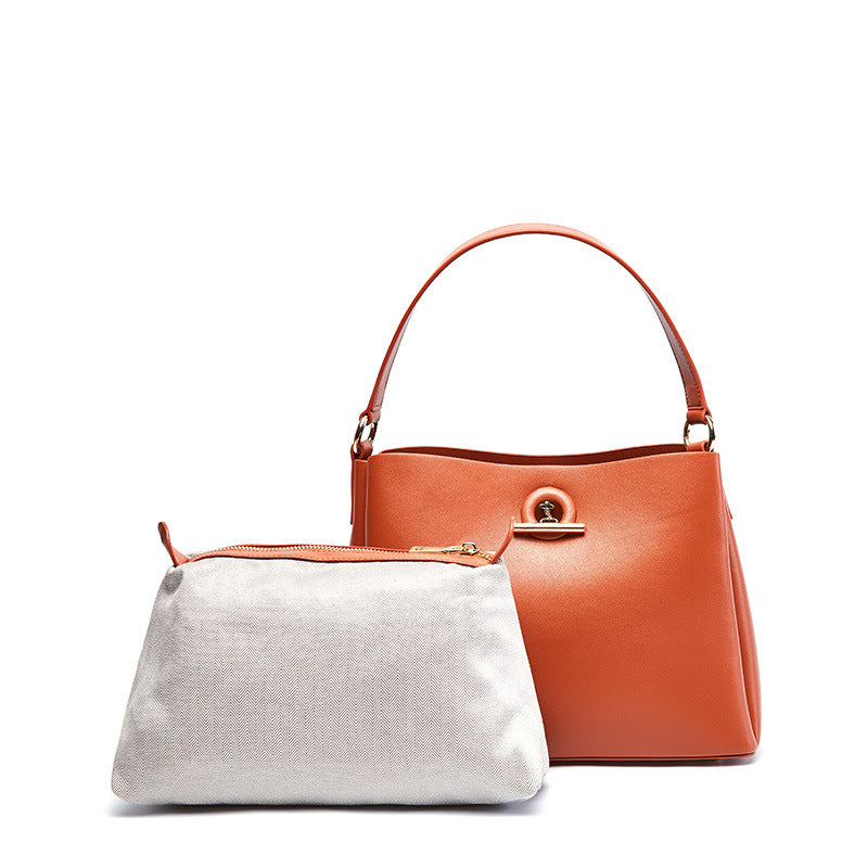 Square Pattern Leather Handbag