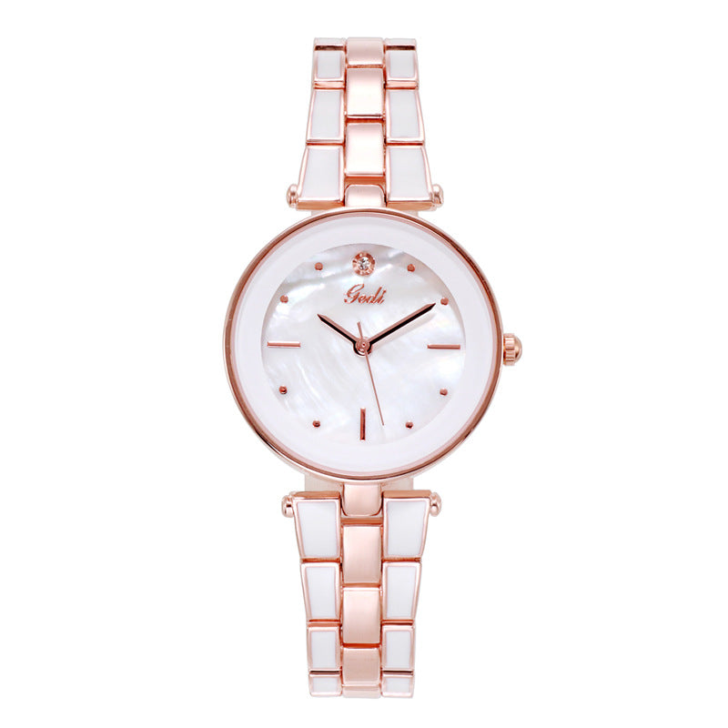 Simple Dial Steel Strap Women's Watch