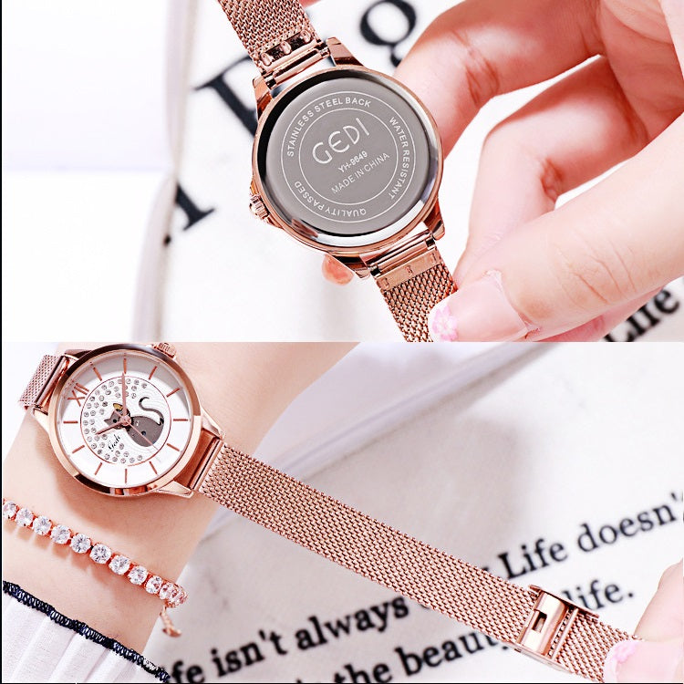 Cat Pattern Mesh Strap Women's Watch