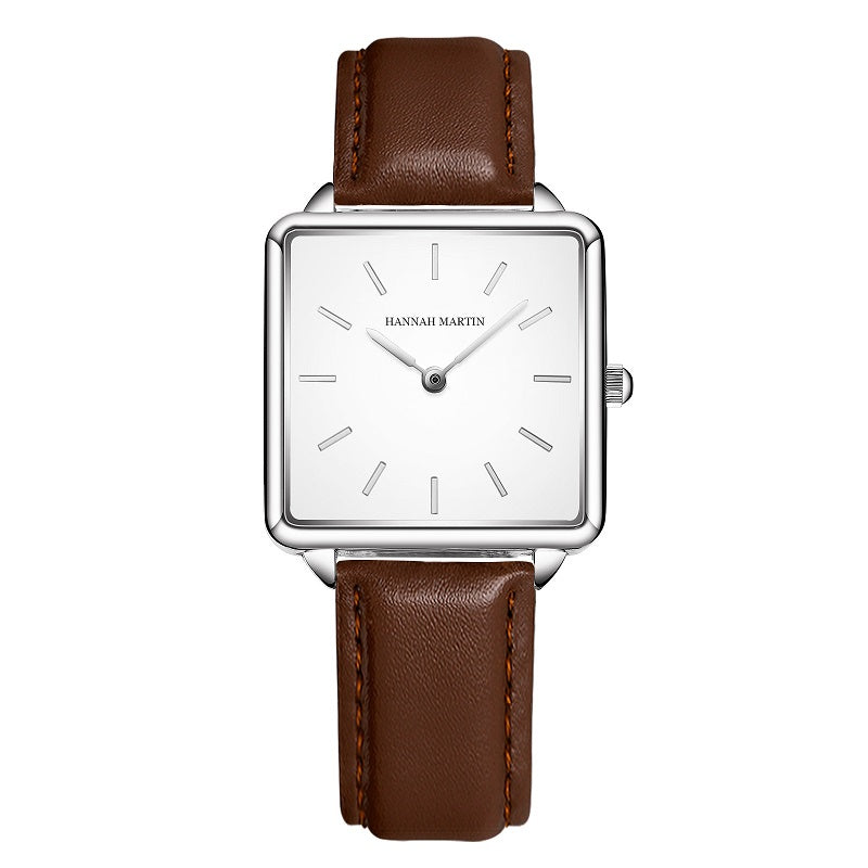 Elegant Square Leather Strap Women's Watch