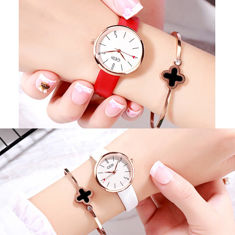 Red Heart-shaped Second Hand Women's Watch