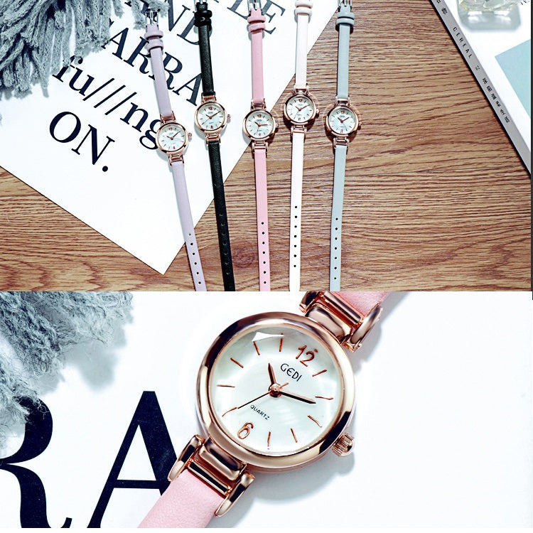 Small Leisure Leather Strap Women's Watch