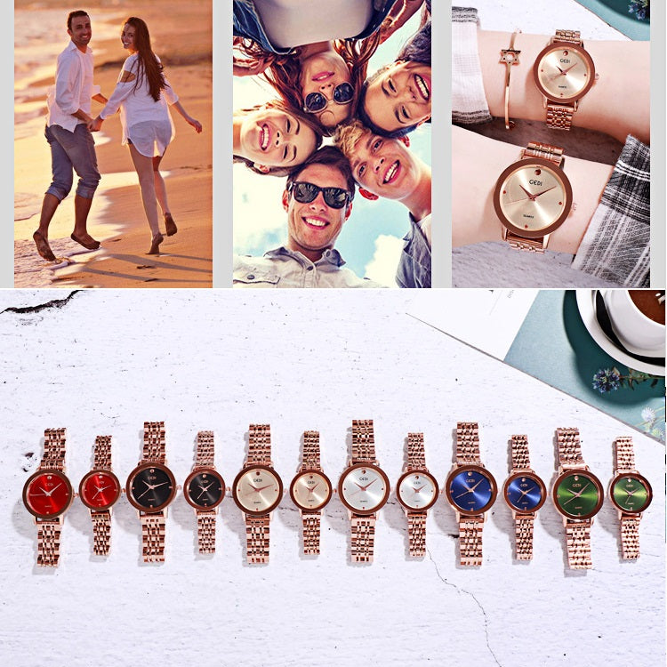 Simple Dial Steel Strap Couple Watch Women's Watch