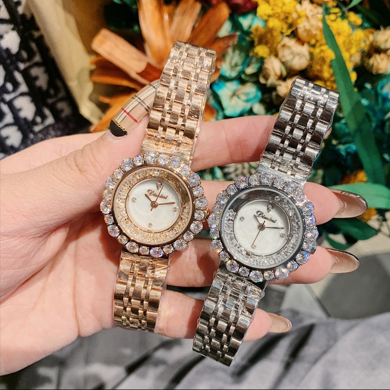 Quicksand Dial Rhinestone Women's Watch