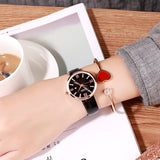 Round Dial With Calendar Leather Strap Women's Watch