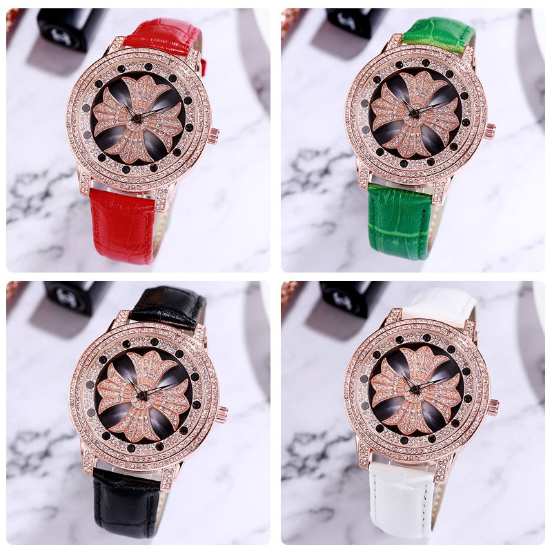 Rotatable Dial Leather Strap Women's Watch