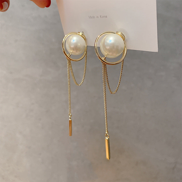 Delicate pearl rear-wearing earrings long earrings long ear chain