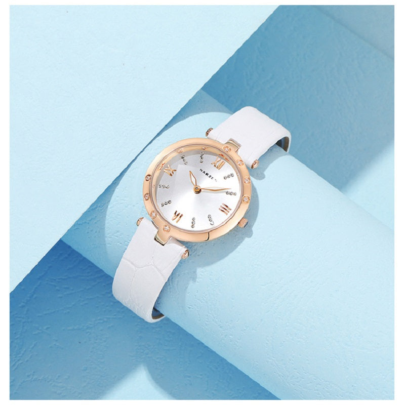 Simple Dial With Rhinestone Scale Women's Watch