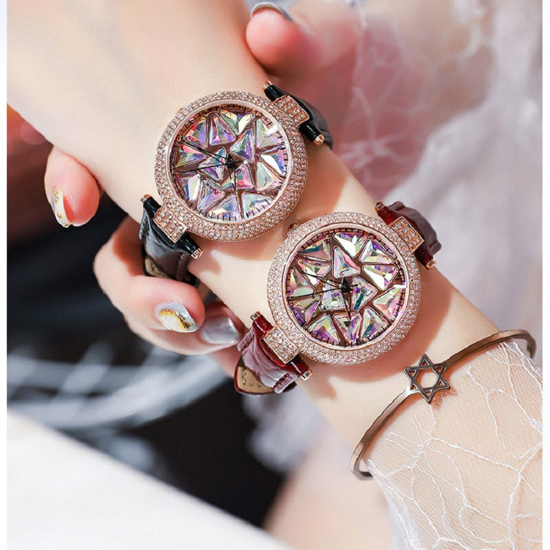 Rotatable Colorful Dial Rhinestone Women's Watch