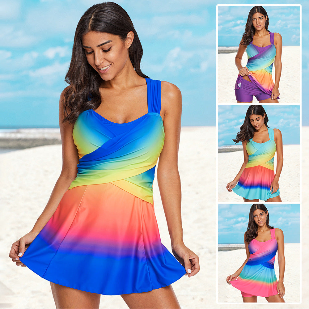 Color-changing conservative cover belly swimsuit