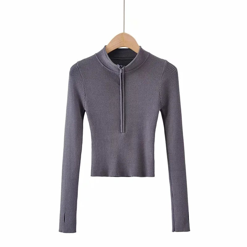 Half turtleneck zipper knitted bottoming shirt
