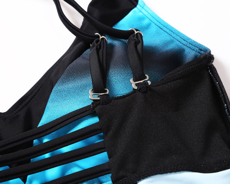 Contrast stitching V-neck cross strap swimsuit