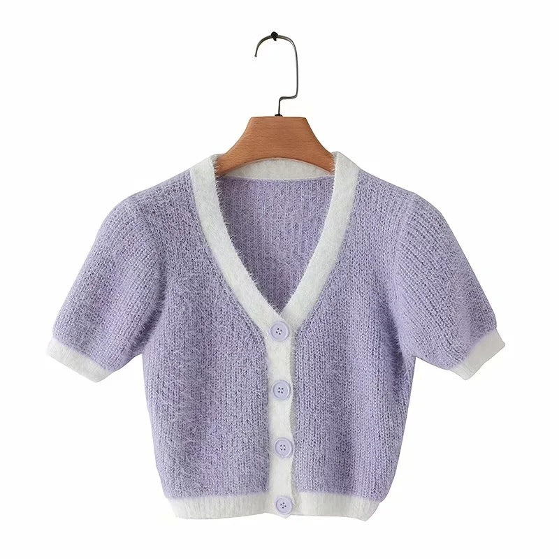 Fashion button short single-breasted sweater T-shirt