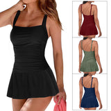 Swimsuit with an open back skirt, solid color, conservative, plus size, swimsuit