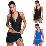 V-neck neck spread skirt body swimsuit