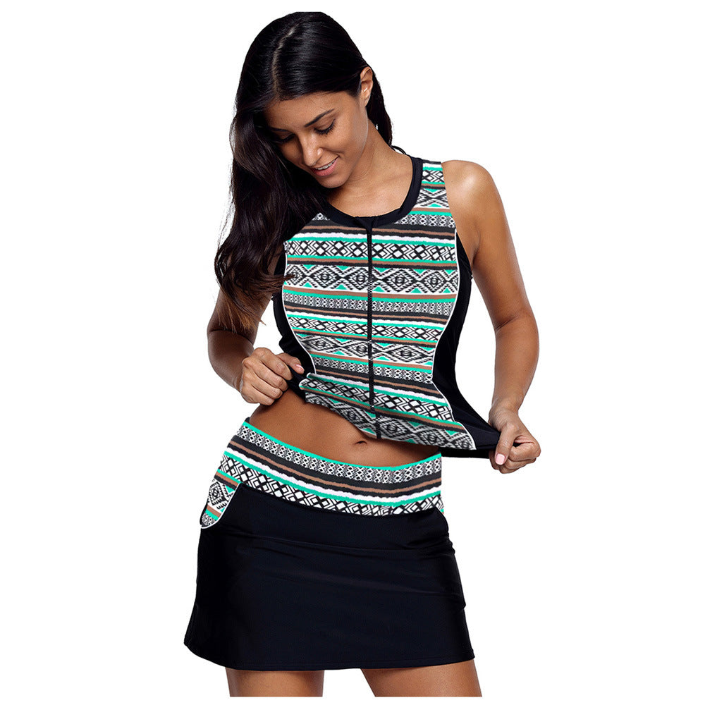 Top with zipper skirt, split skirt, swimsuit