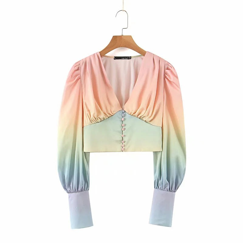 Fashion Women's Summer Bubble Sleeve Long Sleeve Shirt