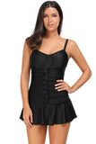 Black Spaghetti Straps Frilled Skirted Swimsuit Maillot