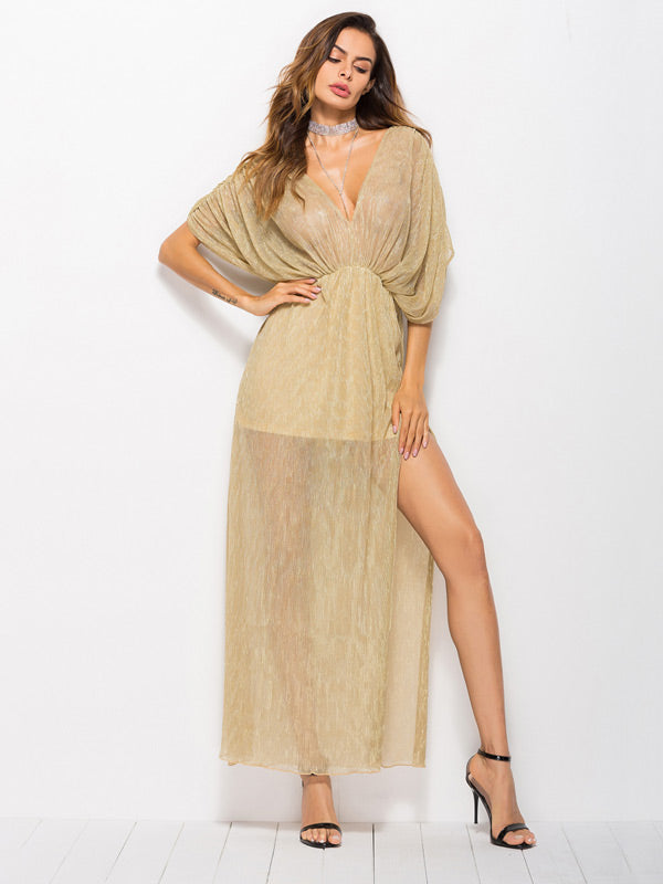 Bat Sleeve V-neck Dress