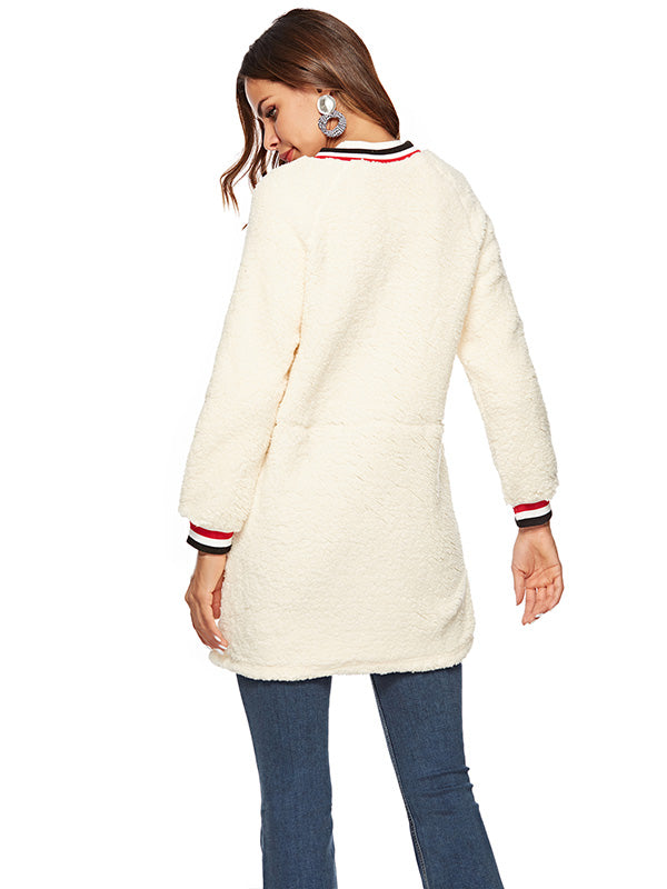 Round Neck Bubble Plush Coat