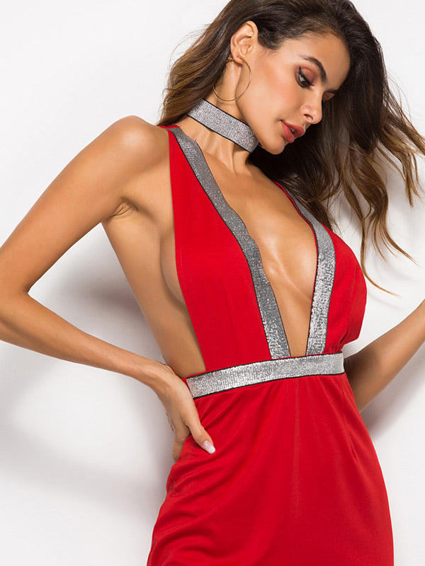 Deep V-neck Halter Dress