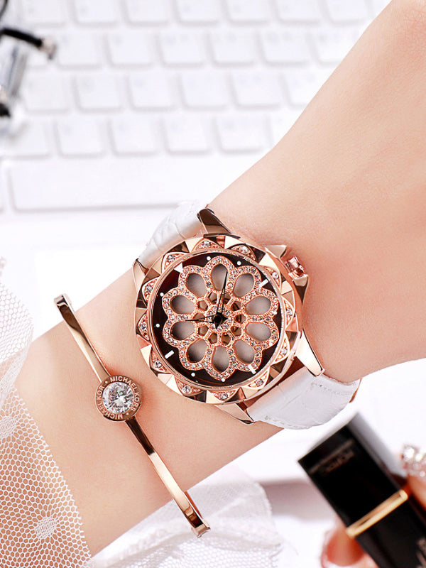 Women's Watch Diamond flower pattern watch dial Women's clothing watch