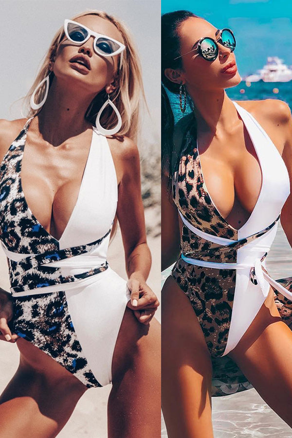 Leopard Deep-V Slim One-piece Swimsuit