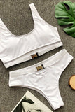 Monochrome Bikini With Metal Buckle