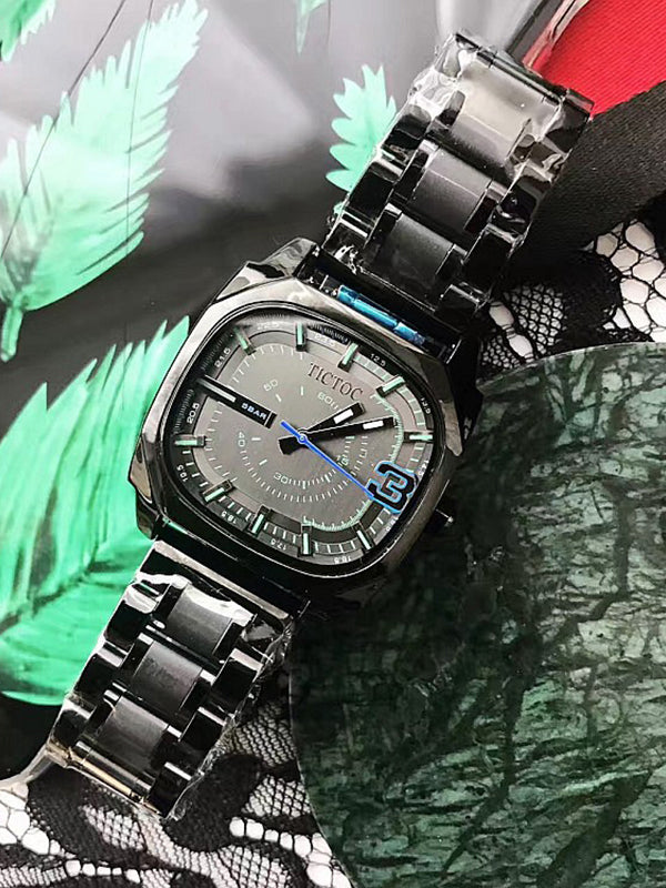 Black Square Pattern Stainless Steel Strap Watch