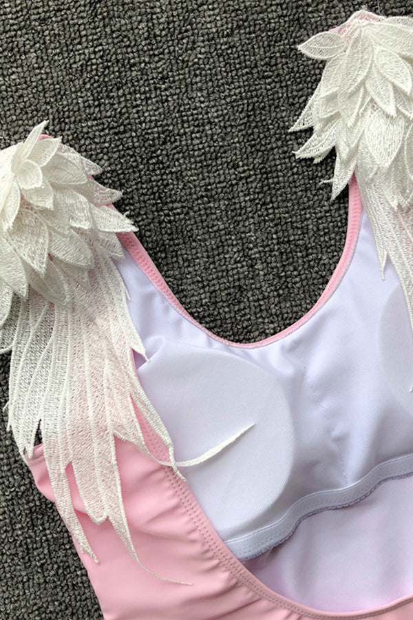 Angel's Wings Monochrome One-piece Swimsuit