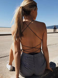 Open Back One-piece Sling With Tie