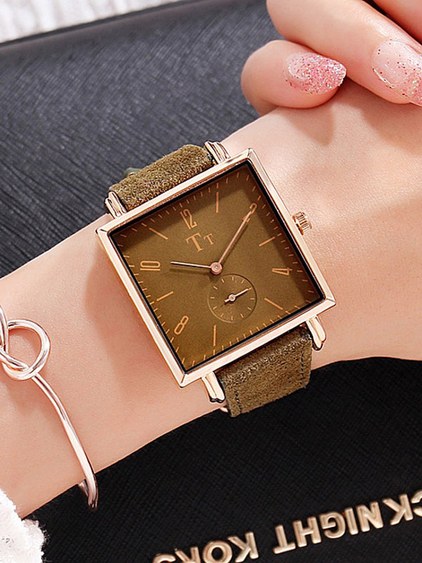Big Dial Square Pattern Transparent Women's Watch
