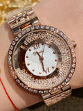 Women's Watch Round Pattern Quicksand diamond dial Stainless Steel strap elegant watch