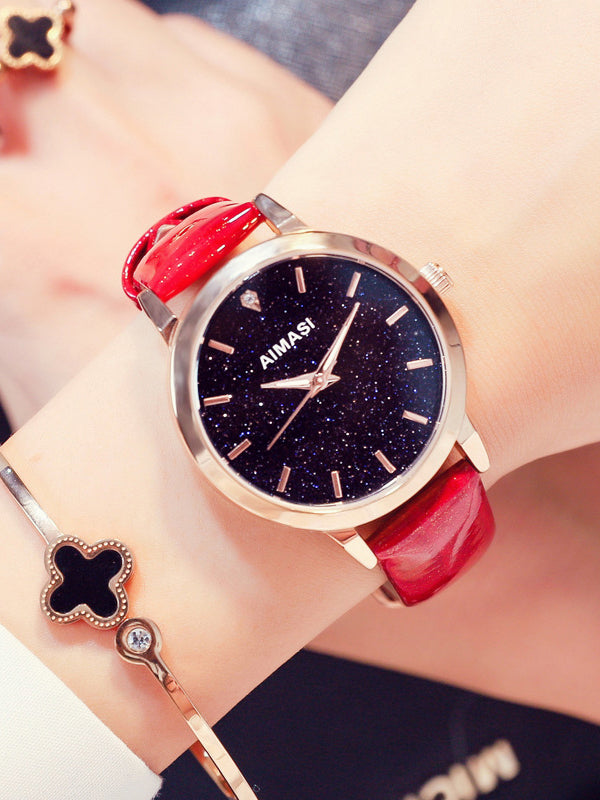Starry Pattern Dial Women's Quartz Watch