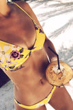 Flower Pattern Yellow Bikini