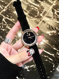 Starry Pattern With Rhinestone Leather Strap Women's Watch