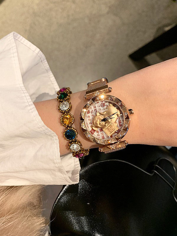 Pig Pattern Magnetic Buckle Women's Watch