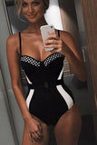 Black&white Slim One-piece Swimsuit