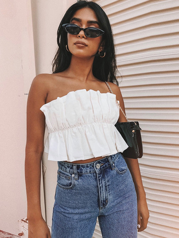 Monochrome Bare Shoulders Wrapped Chest Top