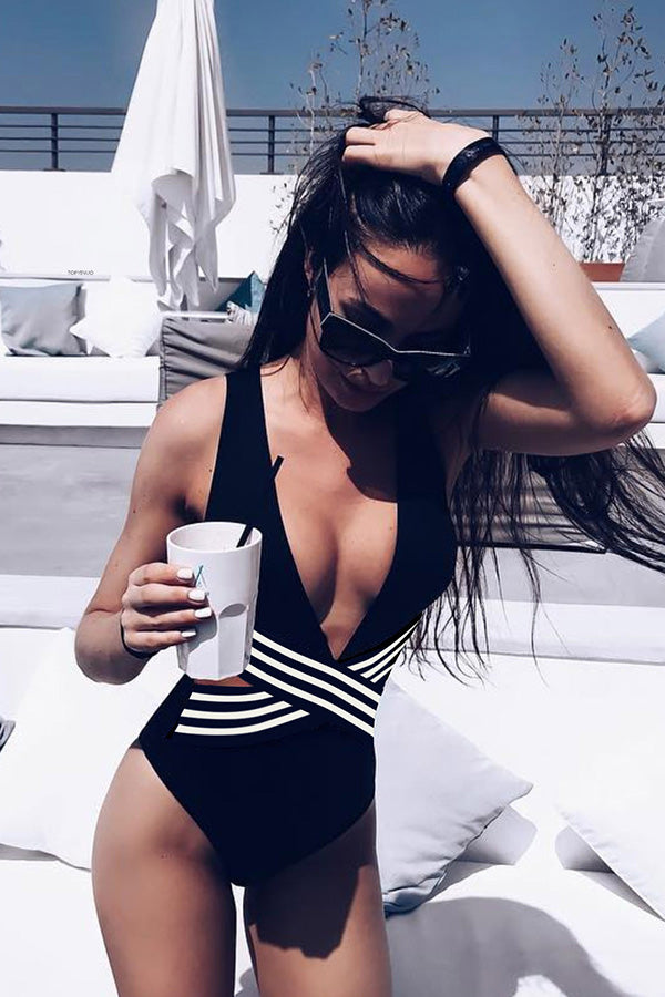 Black& White Striped One-piece Swimsuit