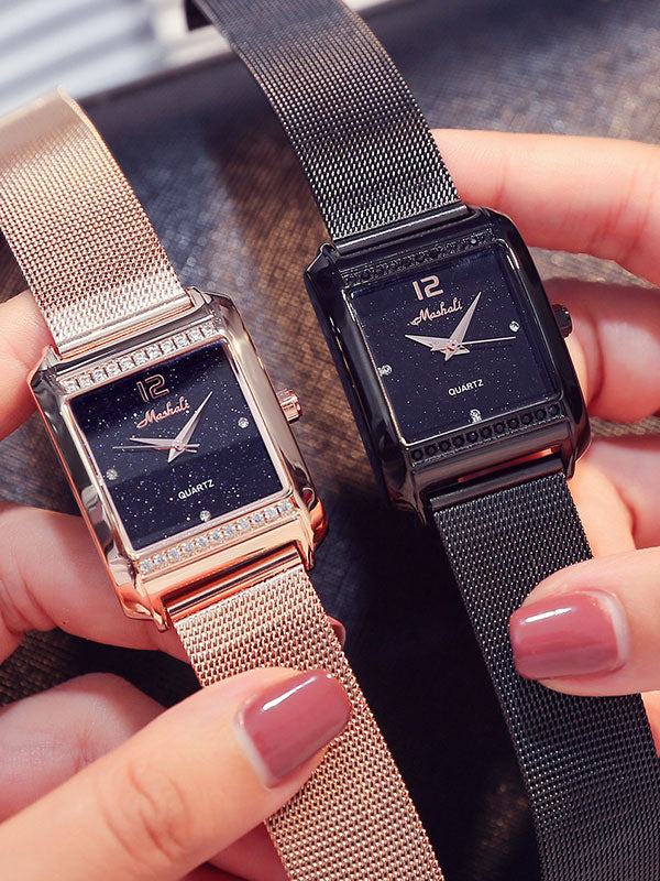 Stainless Steel Square Women's Watch