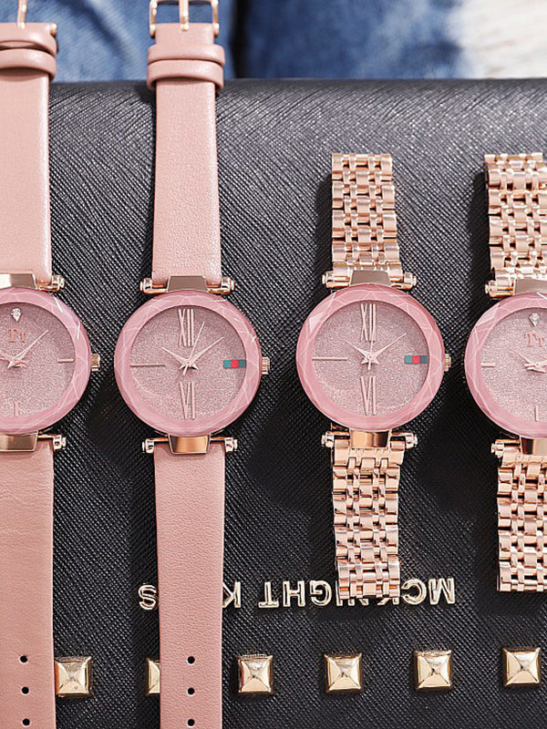 Rose gold Pink Leather Strap Women's Watch