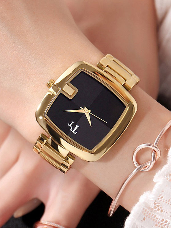 Fashion Square Pattern Stainless Steel Women's Watch