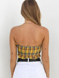 Yellow&Red Lattice Tube Top