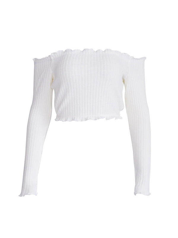 Simple Boat Neck Long Sleeve Top