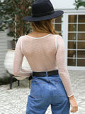 V-neck Perspective Lace Open Back Top