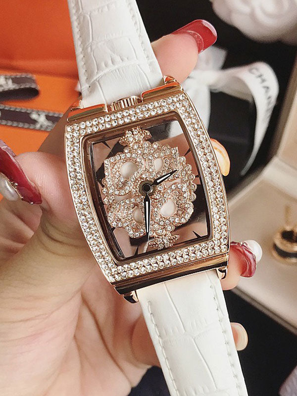 Square Diamond Drill Leather Strap Watch