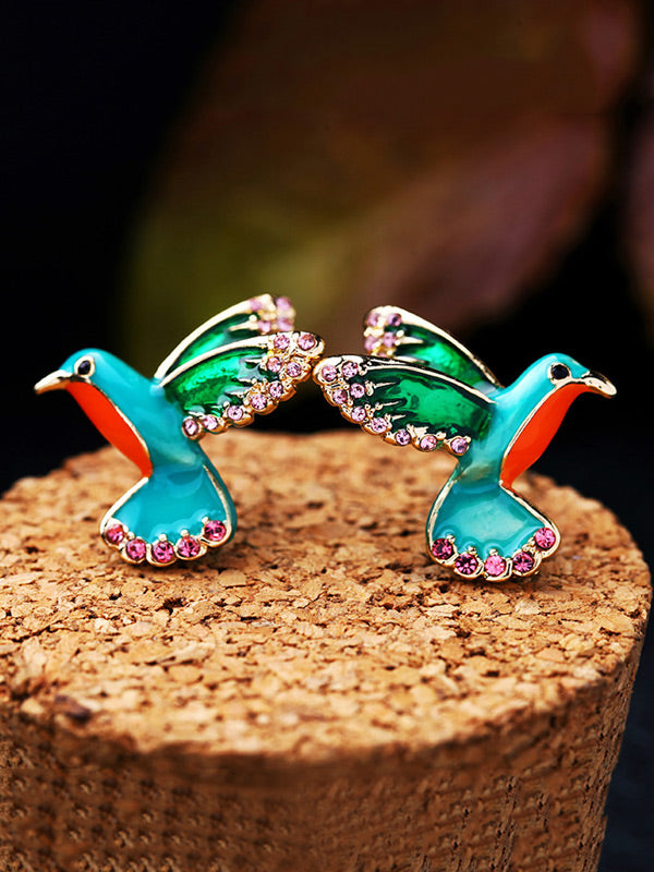Enamel Colorful Inlaid Drill Bird Earrings